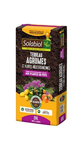Solabiol TERAG20 Terreau Agrumes et Plantes Méditerranéennes, Brun, 20 L