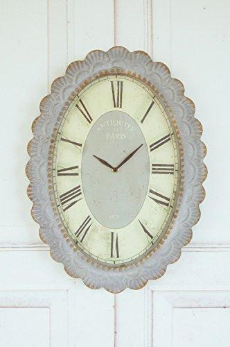 windschief-living Wanduhr, Uhr 1875 im Landhaus Antique Shabby chic Stil, Metall, 46cm
