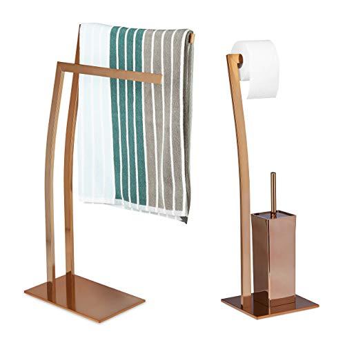 Relaxdays 2 TLG Bad Set WIMEDO, Handtuchhalter freistehend, WC Garnitur ohne Bohren, Toilettenpapierhalter Kupfer, Toilettenbürste