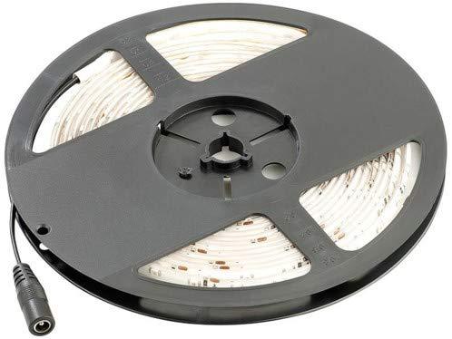 Bande à LED pour intérieur, 5 m, avec prise secteur - Blanc [Lunartec]
