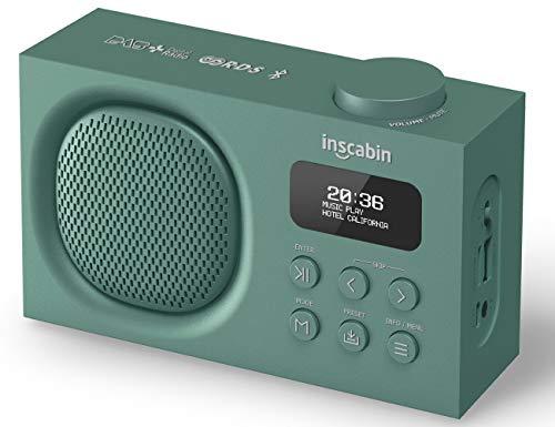 Inscabin P2 Tragbarer DAB/DAB + FM-Digitalradio/Tragbarer drahtloser Lautsprecher mit Bluetooth/Stereo-Sound/Schönes Design/Doppelwecker/Akku (Grün)