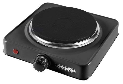 Mesko MS 6508 MS-6508 Hornillo Eléctrico, Regulador de Temperatura, Compacto, Viaje, Camping 154 mm, 1000W, Negro, 1000 W, Aluminio