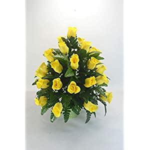 RC4 Yellow Rose Cemetery Flower, Spring Cone Flower, Cone Arrangement, Grave, Tombstone Arrangement.