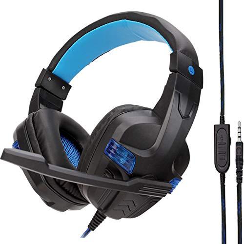 HaiQianXin Kabelgebundenes Noise Cancelling Super Bass 3,5 mm Kopfhörer Gaming Einstellbares Headset mit Mikrofon für Spiele PS4 (Color : Lack+Blue with LED)
