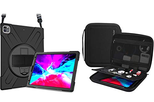 """ProCase iPad Pro 12.9 Rugged Shockproof Case 2020 2018 Bundle with Portable Portfolio Carrying Case for iPad Pro 12.9"""" 2020 2018, MacBook 11""""/ Galaxy Tab S7 Plus 12.4'/ Surface Pro X 7-1"""