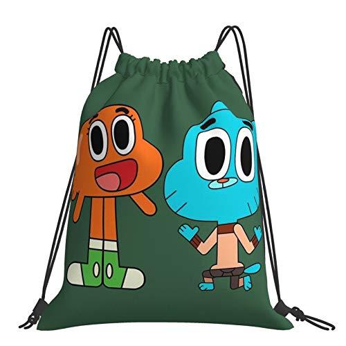 Amazing World Gumball Sack Drawstring Backpack Outdoor Portable Backpacks Large Capacity School Bag Canvas Sports Swimming Travel Beach Unisex Rucksack