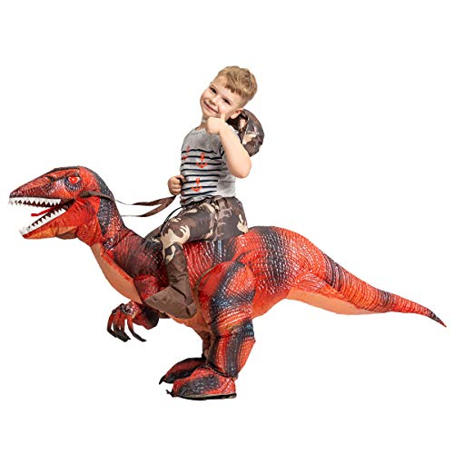 GOOSH Inflatable Dinosaur Costume Riding a T-REX Air Blow-up Deluxe Halloween Costume Red (55 INCH Body height) (Red 7-10 Yrs 55″ Height)