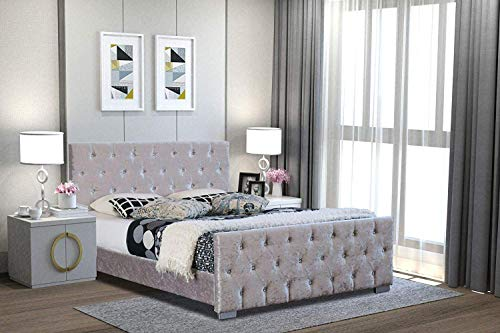 Home Treats Silver Diamante Bed Frame. King Size Bed In Crushed Velvet Upholstered Finish (King Size)