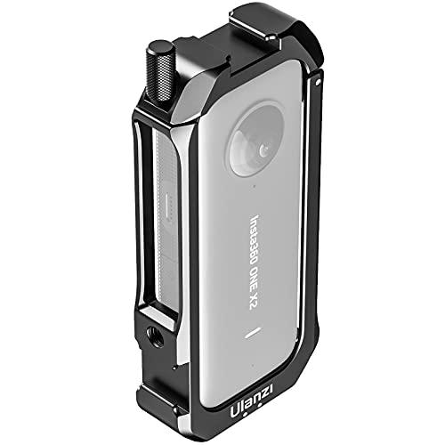 Flycoo2 CNC Vlog - Jaula protectora para Insta360 One X2, doble zapata con audio, micrófono, adaptador compatible con Insta360 ONE x 2 accesorios de cámara
