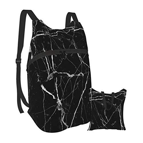 Mochila ligera de mármol negro plegable para senderismo, bolsa impermeable para hombres y mujeres