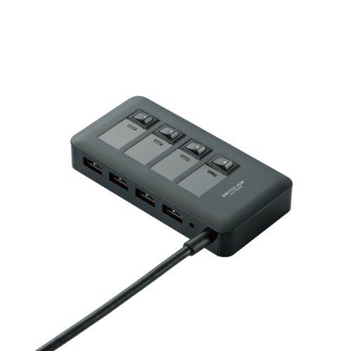 エレコム USB3.0 ハブ 4ポート ACアダプタ付 セルフ/バス両対応 マグネット付 電源スイッチ ブラック U3H-S409SBK