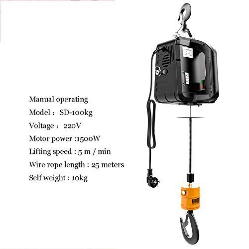 XINGXINGNS Elektrische Seilwinde mit Laufkatze 500 kg Seilzug mit Fahrwerk 12 Meter Stahlseil 230V für Laden- oder Automobilgarage,100kg25m