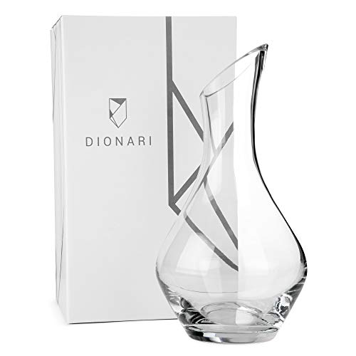 DIONARI Moderno Red Wine Decanter: 100% Lead-Free, Hand-Crafted Glass Decanter for Red Wine Aeration, Premium, Luxurious Aerator Carafe Gift Set for Wine Lovers, Elegant Wine and Drinking Accessories