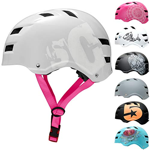 SC Skateboard & BMX Bike Helmet for Kids & Adults – 12 Designs, SC Pink, Size: M