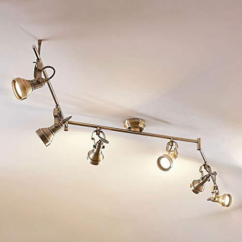 Lindby LED Deckenleuchte 'Perseas' (Retro, Vintage, Antik) in Bronze aus Metall u.a. für Wohnzimmer & Esszimmer (6 flammig, GU10, A+, inkl. Leuchtmittel) - Lampe, LED-Deckenlampe, Deckenlampe