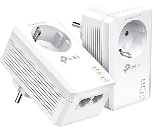 TP-Link TL-PA7027P Kit - Powerline AV1000 con Enchufe Integrado, 2 Puertos Gigabit, Home Plug AV, sin WiFi