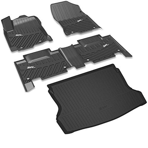 3W Floor Mats&Cargo Liner for Nissan Rogue (2014-2019) - Full Set Heavy Duty All Weather Protection Custom Fit Car Mats with Trunk Mat, Black