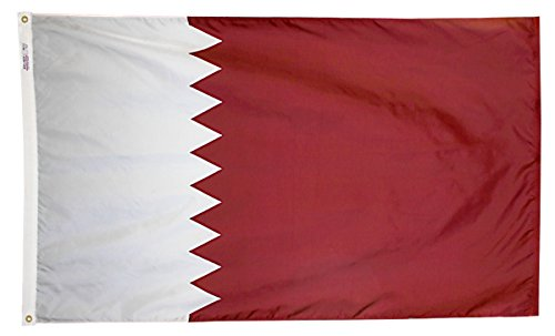 Annin Flagmakers Model 196877 Qatar Flag 3x5 ft. Nylon SolarGuard Nyl-Glo 100% Made in USA to Official United Nations Design Specifications.