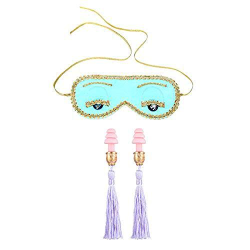 Utopiat Audrey Style Sleeping Mask and Earplug Set | Silk Eye Mask | Elegant Tassel Earplugs | Vintage Set | Handcrafted | Sleep Accessory Set | Adjustable Gold Elastic Tie | Inspired by BAT's