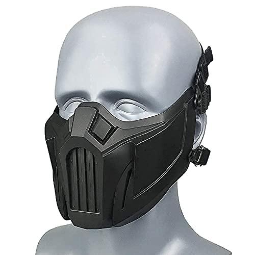 Wwman Taktisch Halbes Gesicht Maske für Airsoft CS Cosplay Halloween Militär Kampf, für Männer Frauen Jugendliche (Schwarz)
