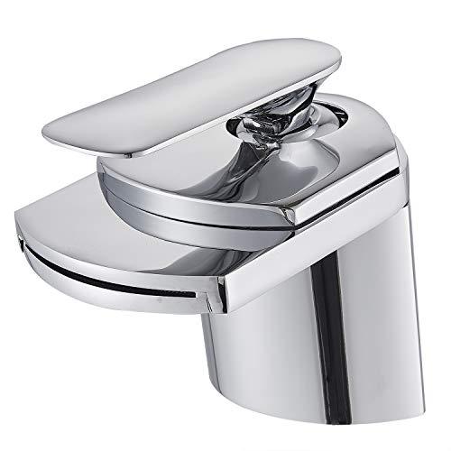SUGU Bad Waschbecken Armatur Chrom Wasserfall Wasserhahn Badarmatur Mischbatterie Armatur Einhebelmischer Waschbeckenarmatur