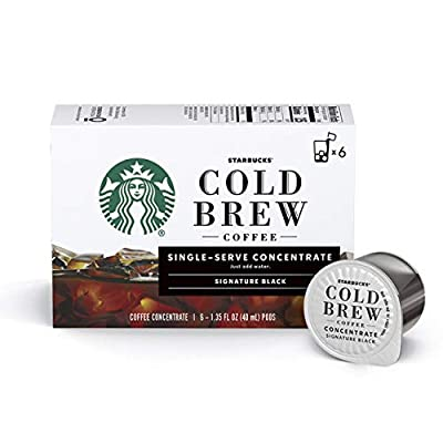 Starbucks Cold Brew Coffee | Signature Black Single-Serve Concentrate Pods | 6 boxes (36 capsules total)