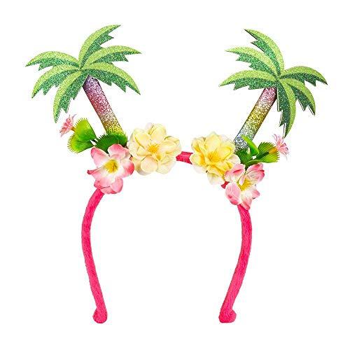 Boland 52509 - Tiara Palmera, pink-grün-gelb, one size, Palmen, Blumen, Beach, Tropical, Hawaii, Ibiza, Karneval, Halloween, Fasching, Mottoparty, Kostüm, Theater, Verkleidung, Accessoire