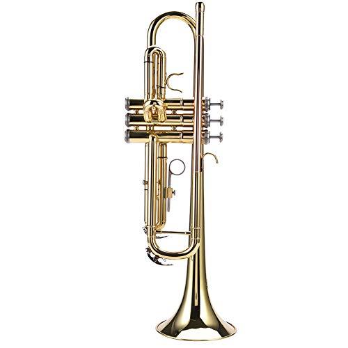 Trompet, Professionele Messing Student Bb Flat Trompet Wind Instrumenten Kit met Mondstuk riemen Clean Set Tas goud