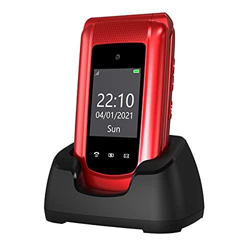 GSM Simlockfreie Seniorenhandy Klapphandy ohne Vertrag,Großtasten Mobiltelefon SOS Notruffunktion,Taschenlampe,FM Radio,2.4 Zoll Dual Bildschirm Einfach Handy für Senioren (Rot)(mit 1 * 1000mAh Akku)