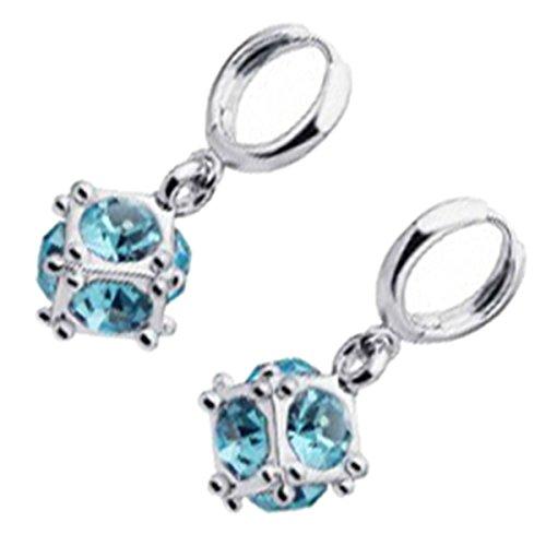 UPCO Jewellery Pendientes en forma de cubo de Rubik con caras de piedra azul marino, de 12 x 27 MM bañados en plata esterlina