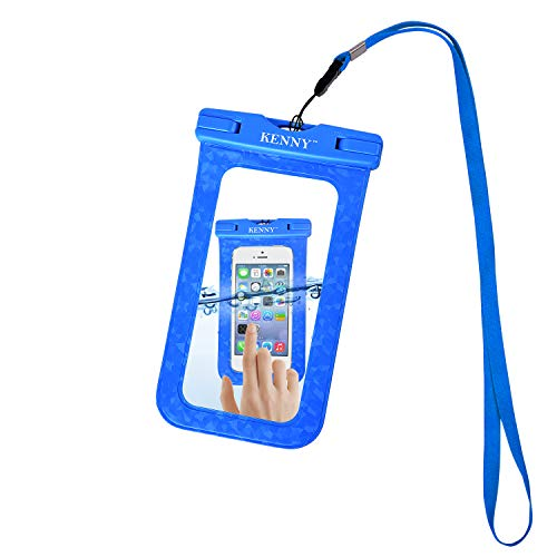 Kenny Bolsa Impermeable Teléfono Celular IPX8 Certificado Funda Impermeable, Diseño en Relieve Bolsa Impermeable Sumergible Funda Resistente al Agua Universal 6 Pulgadas (Azul)