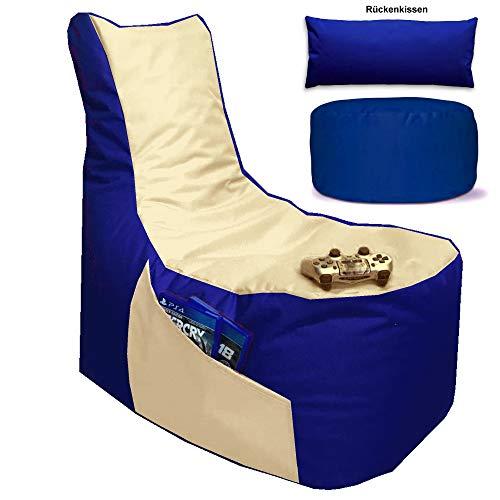 Sitzsack 3er Set Big Gamer Sessel mit EPS Sytropor Füllung - Rückenkissen - Hocker Sitzsäcke Sessel Kissen Sofa Sitzkissen Bodenkissen (Big Gamer Sitzsack 3er Set 2-farbig, Blau - Beige)