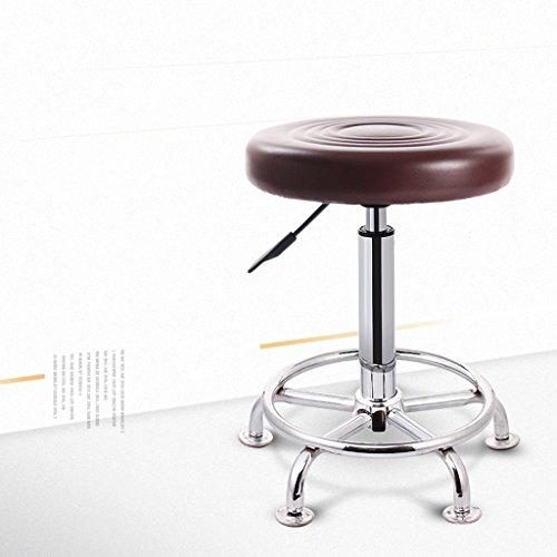 QZz Tabouret de bar tabouret chaise rotative à manger (Couleur : Marron, taille : H43-58cm)
