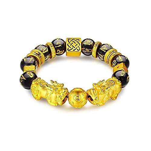 Pulsera de oro Pixiu para mujer Pulsera de pareja de cuentas Bring Lucky Brave Wealth Bracelets-A