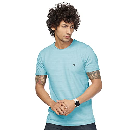 Black snow Rough Cut Neck Stretchable Cotton Lycra Solid Casual and Sports Wear T-Shirt for Men - Sky Blue
