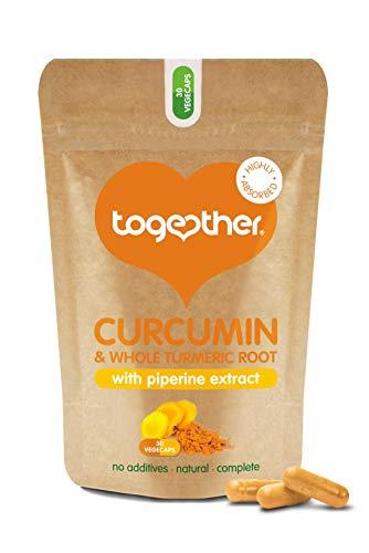 Curcumin & Turmeric Complex – Together Health – Organic Whole Turmeric Powder – 95% Curcumin & Piperine – Full Spectrum Antioxidant Formula – Vegan Friendly – Made in The UK – 30 Vegecaps