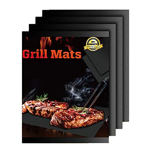 Owine BBQ Grill Mat Non Stick Set of 4- Heavy Duty, Reusable and Easy to Clean Grill Accessories, Grilling Mats Best for Outdoor Grill, Electric Grill Gas Charcoal BBQ - 15.75 x 13 Inch