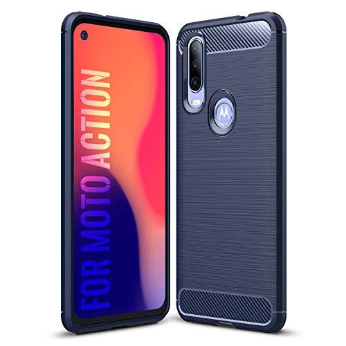SCL Hülle Für Motorola One Action Hülle Moto One Action Handyhülle Exquisite Serie-Carbon Design Schutzhülle mit Anti-Kratzer & Anti-Stoß Absorbtion Technologie [Blau]