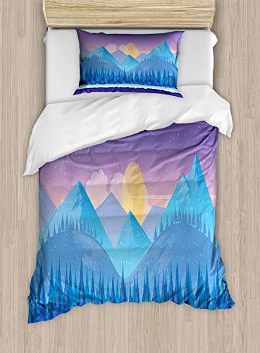 ABAKUHAUS Berg Dekbedovertrekset, Cartoon Fir Woodland, Decoratieve 2-delige Bedset met 1 siersloop, 130 cm x 200 cm, Paars Blauw en Geel