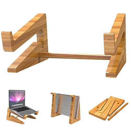 Th-some Laptop Ständer,Notebook Computer Ständer Tragbarer Faltbar PC Halter Bamboo Laptop Stand Halterung Kompatibel mit MacBook Pro Air, Dell, HP, Samsung, Lenovo und mehr 10-15 Zoll Laptops