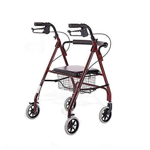 Vierwielige Premium Rollator Met Zitting, Rugleuning Lichtgewicht Opvouwbare Walker Lopend Frame Met Zitting, Riethouder En Sluitende Rem-Lichtste