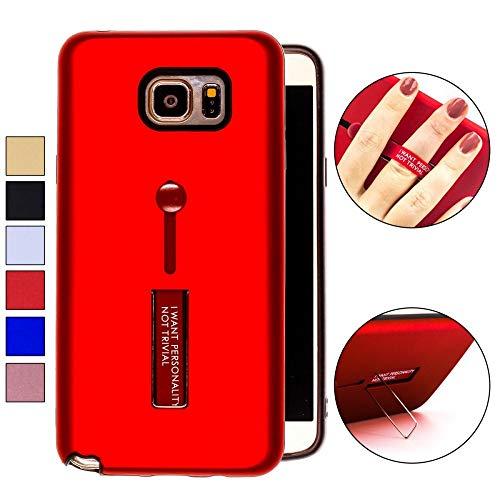 COOVY® Cover für Samsung Galaxy Note 5 SM-N920 / SM-920F Bumper Case, Doppelschicht aus Plastik + TPU-Silikon mit Halteschlaufe, Standfunktion | Farbe rot