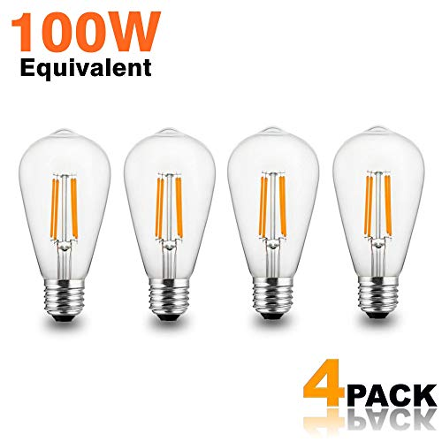 Modvera Lighting LED Edison Light Bulb 10 Watt - 100W Equivalent Directional Squirrel Cage Filament Clear Glass - Color Temperature Warm White ST64 E26 Base Dimmable Vintage Lamp UL Listed - 4 Pack