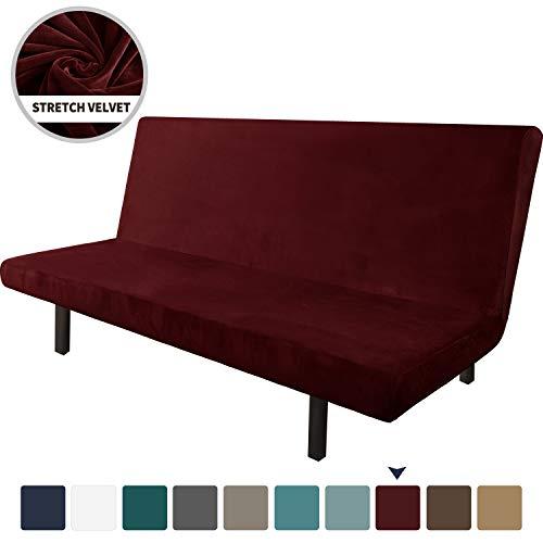 Chelzen Funda de terciopelo para futón de alta elasticidad, sin brazos, tela de elastano, funda antideslizante para sofá cama, protector de muebles con parte inferior elástica,...