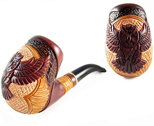 Fashion Exclusive Tobacco Smoking Pipe'OWL' Wooden Handcrafted and Metal Cooler 9 mm Filter. Designed for Pipe Smokers