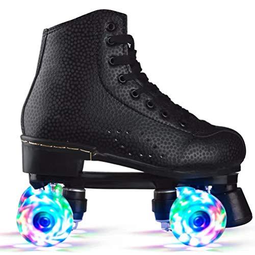 LAOZI Klassische Rollschuhe Artistic, Flash Wheel Rollschuhe mit LED-Licht, Quad 4 Räder, für Damen und Herren, Unisex, Erwachsene, H6AW3GFAHQ12A2917V, Schwarz 44
