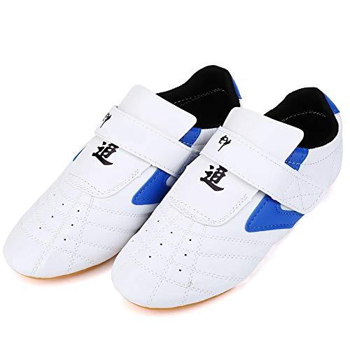 Dilwe Scarpe Taekwondo Traspiranti, Arti Marziali Scarpe da Boxe per Formazione Kung Fu Taichi Karate Blu(33)