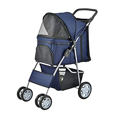[pro.tec] Carrito para Mascotas Pet Stroller Hundebuggy Impermeable para Empujar Roadster con Cesta para Guardar Objetos