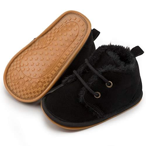 Baby Boy Girl Boots Newborn Shoes Winter Snow Bowknot Anti-Slip Soft Sole Warm Infant Toddler Prewalker Booties(02 Black, 12-18Months)