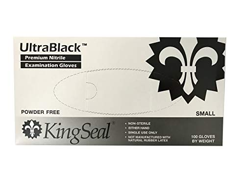 KingSeal UltraBlack Nitrile Exam Gloves, Medical Grade, Powder Free, Size X-Large, 4 MIL, Textured Fingertips - 1 Box of 100 Gloves By Weight